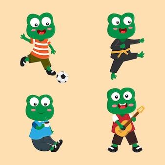 Kolekcja zestaw znaków kreskówka żaba robi inną ilustrację wektorową aktywności