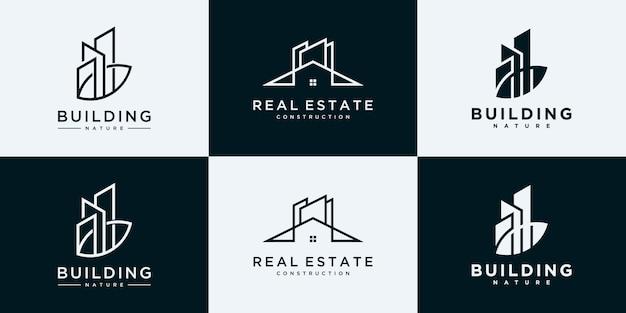 Kolekcja zestawów architektury budynków, szablony projektów logo nieruchomości.