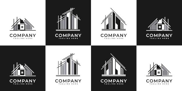 Kolekcja zestawów architektury budynku, symbole projektowania logo nieruchomości.