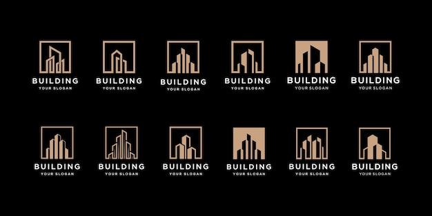 Kolekcja zestawów architektury budynku, symbole projektowania logo nieruchomości