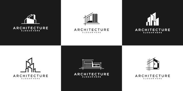 Kolekcja zestawów architektury budynku, symbole projektu logo nieruchomości.