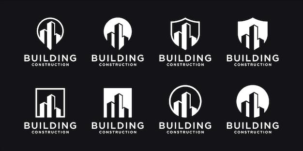 Kolekcja zestawów budynków, symbole projektowania logo nieruchomości