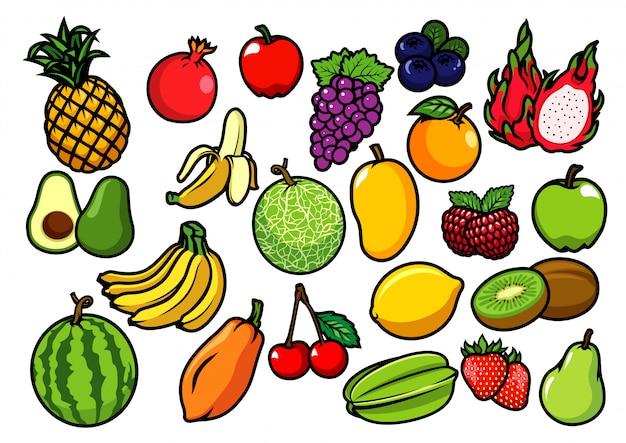 Kolekcja zestawów owoców