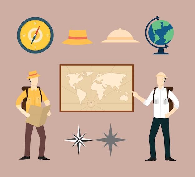 Kolekcja zestawu geografia explorer lub przygoda