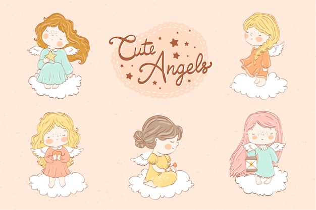 Kolekcja zestawu ślicznych małych aniołów