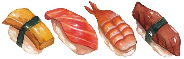 Kolekcja zestawu sushi akwarela