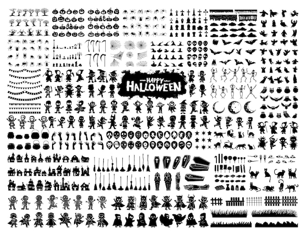 Kolekcja zestawu znaków halloweenowych do świętowania, szablonu i dekoracji