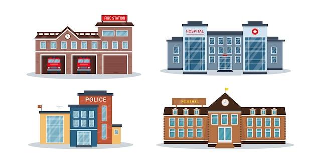 Kolekcja zewnętrzna budynków miasta na białym tle. fasady posterunku straży pożarnej szpitala lub przychodni oraz szkoły lub uczelni