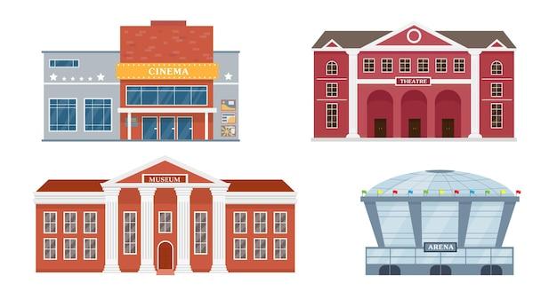 Kolekcja zewnętrzna budynków miejskich fasady teatru operowego, muzeum kina i stadionu