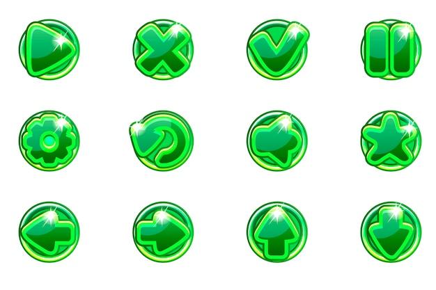 Kolekcja zielone kółka zestaw szklanych przycisków dla interfejsu użytkownika