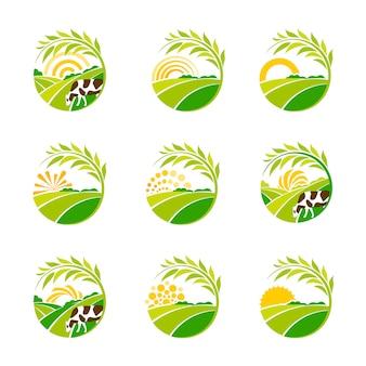 Kolekcja zielone logo farmy na białym tle. zestaw logo krajobrazu wiejskiego.