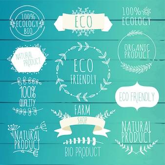 Kolekcja zielonych etykiet i odznak dla produktów ekologicznych, naturalnych, biologicznych i ekologicznych. zabytkowe .