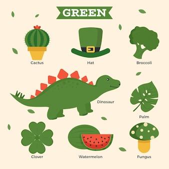Kolekcja zielonych i słownictwa