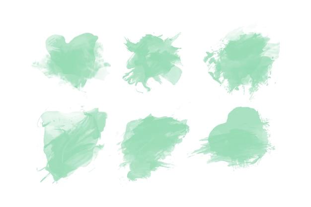 Kolekcja zielonych plam akwarela