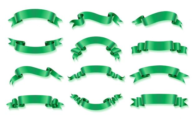 Kolekcja zielonych wstążek