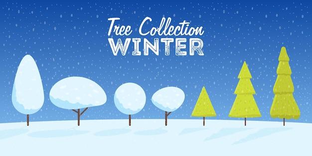 Kolekcja zima i boże narodzenie ośnieżone drzewa stylu cartoon. ilustracja wektorowa.