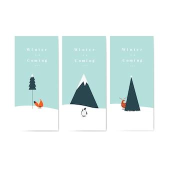 Kolekcja zima nadchodzi plakaty wektorowi