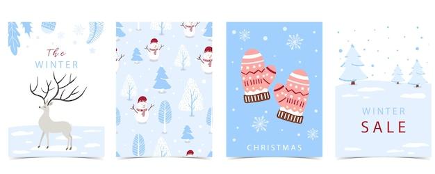 Kolekcja zimowe tło zestaw z drzewa raindeer bałwan ilustracja wektorowa edytowalne zaproszenia świąteczne pocztówki