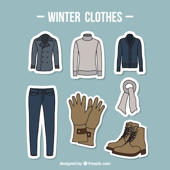 Kolekcja zimowe ubrania z akcesoriami rysowane ręcznie