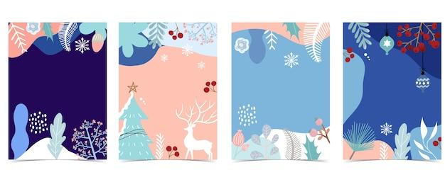 Kolekcja zimowego tła z drzewa, jeleń, kwiat, liście.