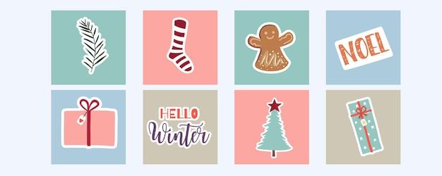 Kolekcja zimowego tła z drzewem, prezentem. edytowalna ilustracja wektorowa na zaproszenie na boże narodzenie, pocztówkę i baner strony internetowej