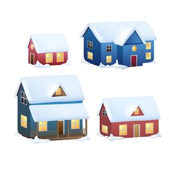 Kolekcja zimowych domów. kreskówka śnieg dom i wiejskie domki zestaw. w tym domek alpejski, schronisko górskie, dom z muru pruskiego i inne zaśnieżone budynki w płaskiej konstrukcji.