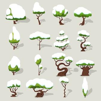 Kolekcja zimowych drzew śniegiem