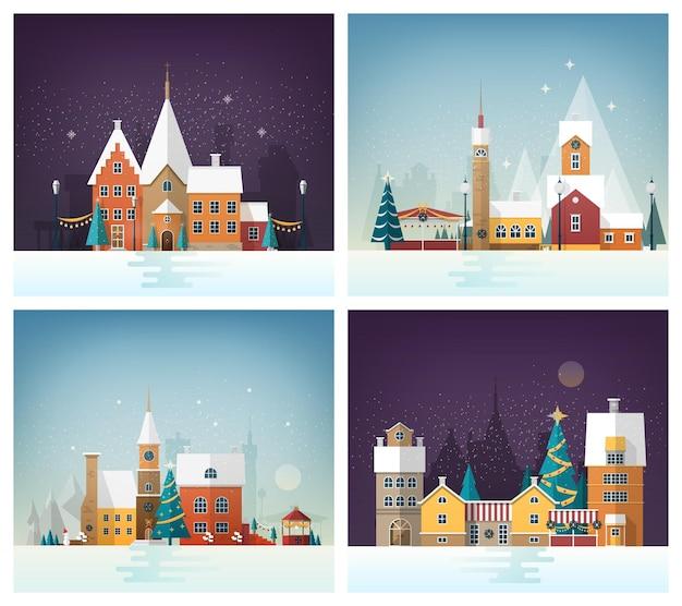 Kolekcja zimowych pejzaży miejskich lub miejskich krajobrazów z wakacyjnymi dekoracjami ulic i zdobionymi budynkami. miasto lub miasto w nowy rok lub wigilię. ilustracja wektorowa uroczysty w stylu płaski.