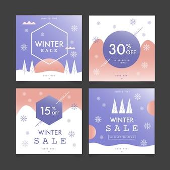 Kolekcja zimowych postów sprzedażowych