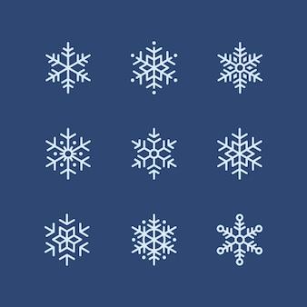 Kolekcja zimowych świątecznych elementów śnieżynki