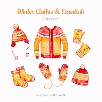 Kolekcja zimowych ubrań i niezbędników