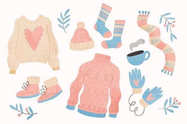 Kolekcja zimowych ubrań w akwareli