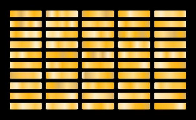 Kolekcja złota metal gradientu i zestaw tekstur złota folia. błyszczący