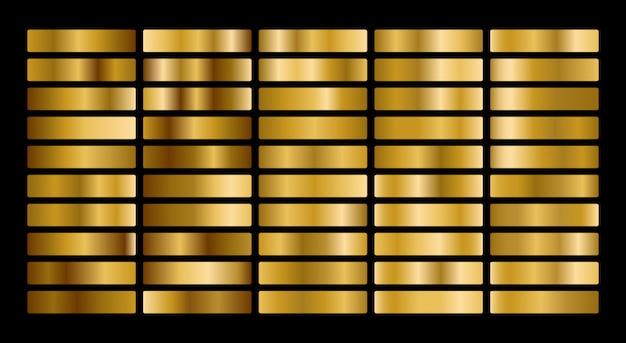 Kolekcja złota metal gradientu i zestaw tekstur złota folia.