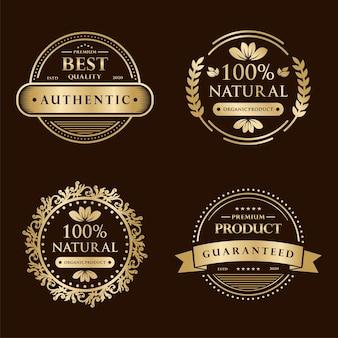Kolekcja złota odznaka certyfikacji gwarancji 100% satysfakcji