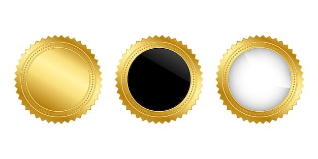 Kolekcja złota odznaka na na białym tle