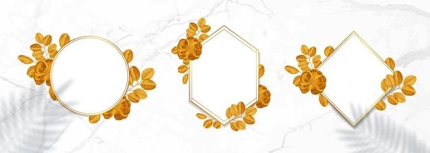 Kolekcja złota. wieniec kwiatowy ze złotymi liśćmi.
