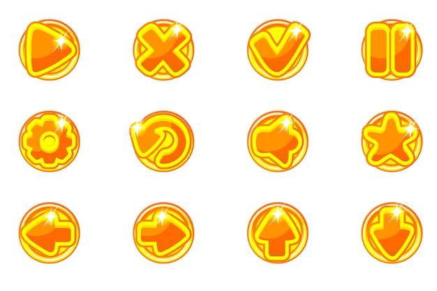 Kolekcja złote kółka zestaw szklanych przycisków dla interfejsu użytkownika