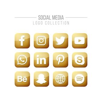 Kolekcja złote logo mediów społecznych