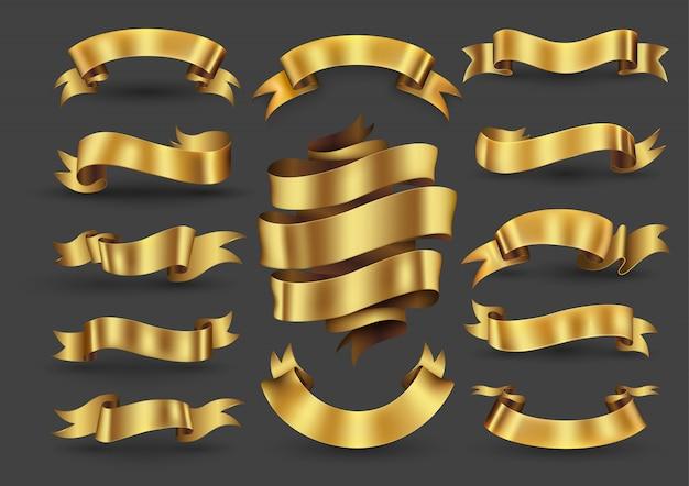 Kolekcja złote wstążki banery