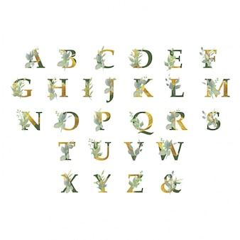 Kolekcja złotego alfabetu z ornamentami roślinnymi