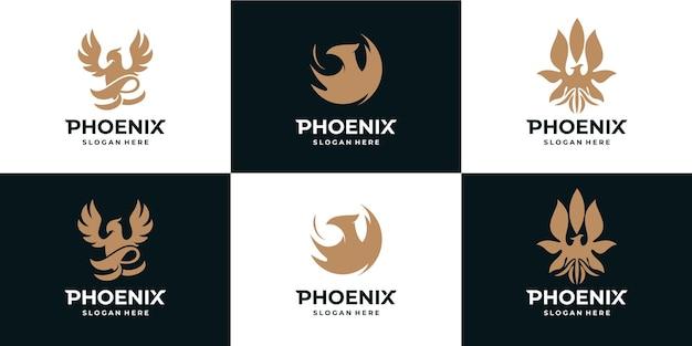 Kolekcja złotego logo feniksa