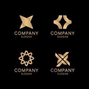 Kolekcja złotego logo firmy