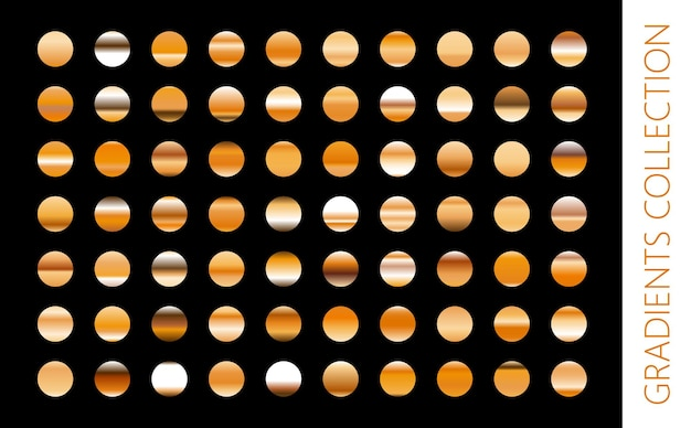 Kolekcja złotego metalu gradientu i zestaw tekstur złotej folii. błyszcząca ilustracja