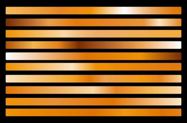 Kolekcja złotego metalu gradientu i zestaw tekstur złotej folii. błyszczący