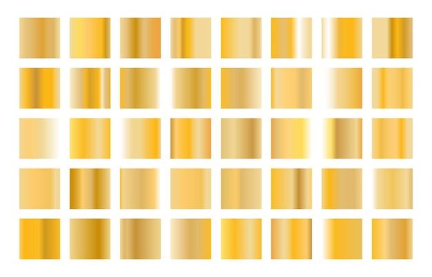 Kolekcja złotego metalu gradientu i zestaw tekstur złotej folii.