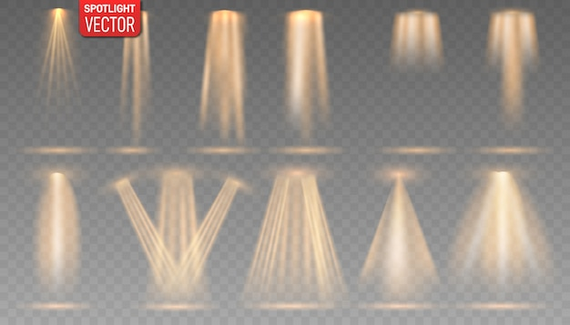 Kolekcja złotego reflektora świeci na scenie, scenie, podium. jasne oświetlenie z reflektorami.