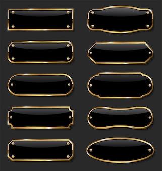 Kolekcja złotej i czarnej metalowej ramy
