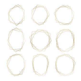 Kolekcja złotej wielokąta ramki