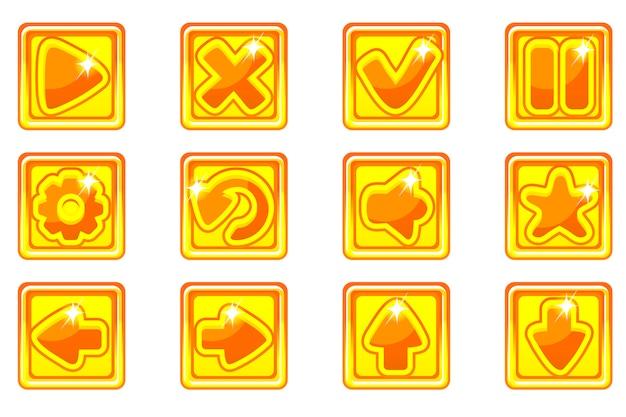 Kolekcja złoty kwadrat zestaw szklanych przycisków do interfejsu użytkownika